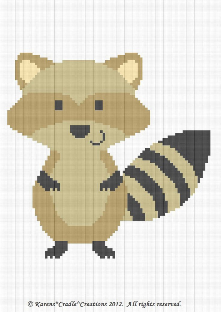 RACCOON Woodland AFGHAN PATTERN Original graph pattern artwork © Karens*Cradle*Creations, 2012. All rights reserved. Up for auction is a GRAPH PATTERN that I created. This graph pattern will make a beautiful heirloom afghan done in single crochet, the afghan or Tunisian crochet stitch, knit, or counted cross stitch onto the background. High quality color print. Includes basic helpful hints and instructions sent in a clear sheet protector. Prompt shipping. Skill level: BEGINNER *SMOKE FREE…