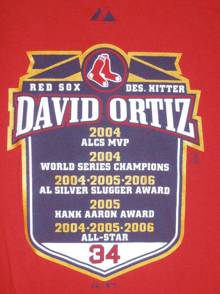 David Ortiz World Series MVP Boston Red Sox Designated Hitter Shirt Size L Red