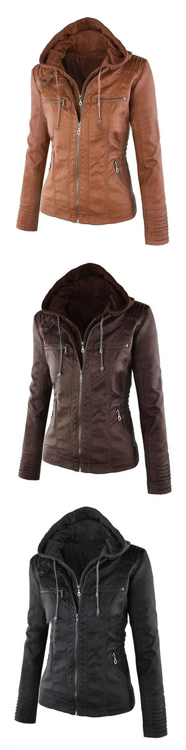 [Newchic Online Shopping] 49%OFF Casual Jackets | Hooded Jackets | PU Leather Jackets | Jackets for Women #jackets #womensfashion #winterfashion