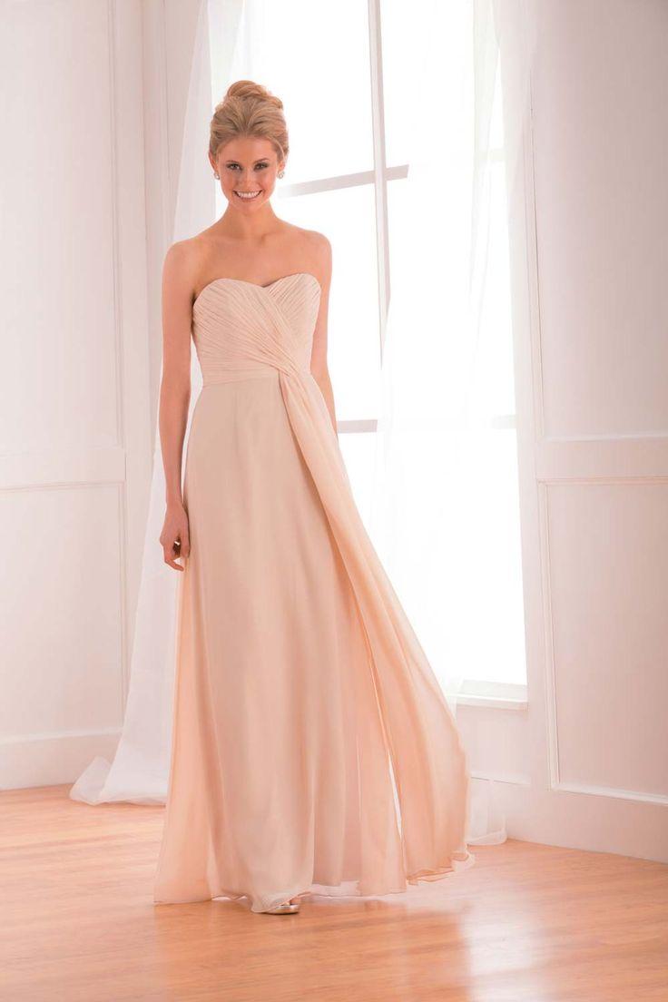 Strapless peach bridesmaid dress from B2