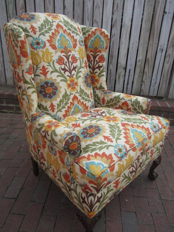 Exceptional Accent Chair Orange Floral By Urbanmotifs On Etsy, $575.00