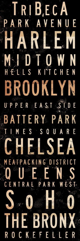 New York City Neighborhoods typography graphic Canvas Art horizontal graphic mixed media collage 12 x 36 x 1.5
