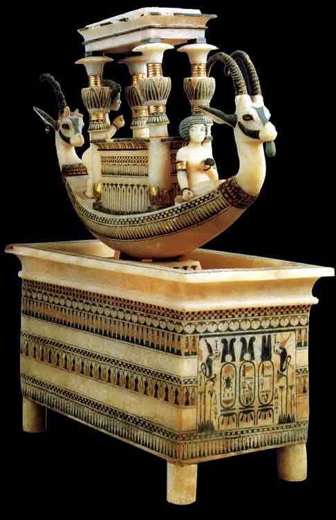 ALABASTER BOAT FOUND IN THE ANNEX CHAMBER OF TUT´S TOMB