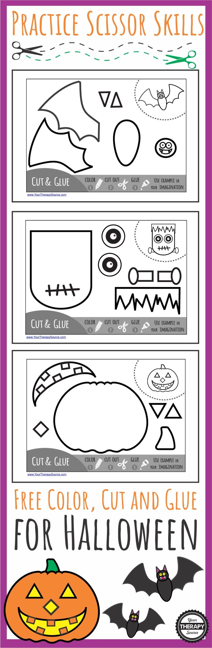 Color Cut Glue Halloween - practice coloring, scissor skills, pasting and sequencing with this free download from Your Therapy Source.