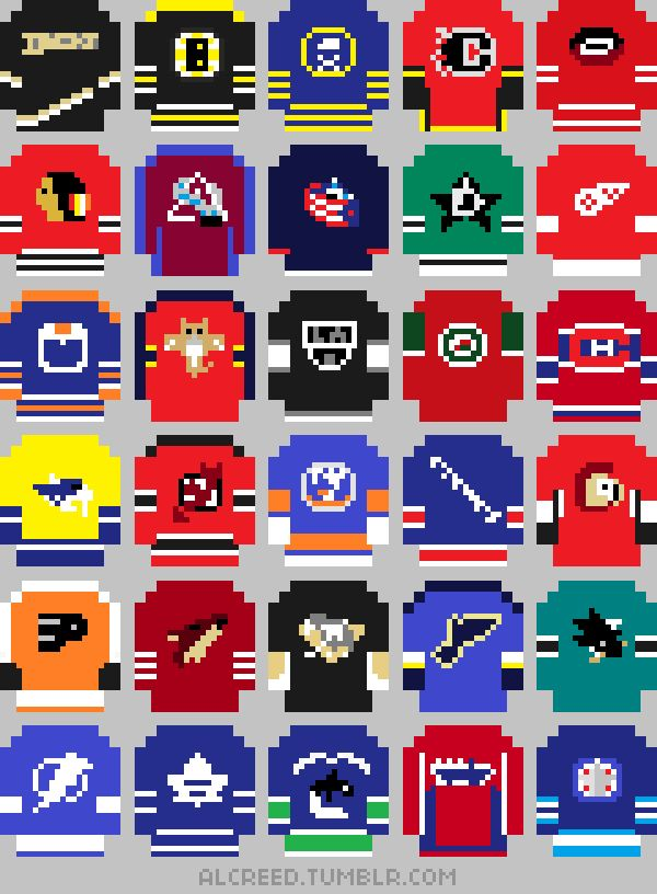 """it8bit: """"NHL Jerseys, 2013-14 T-shits available for $22.40(US) @Redbubble Created by AL Creed """" Like I needed another reason to miss playing NHL 94."""