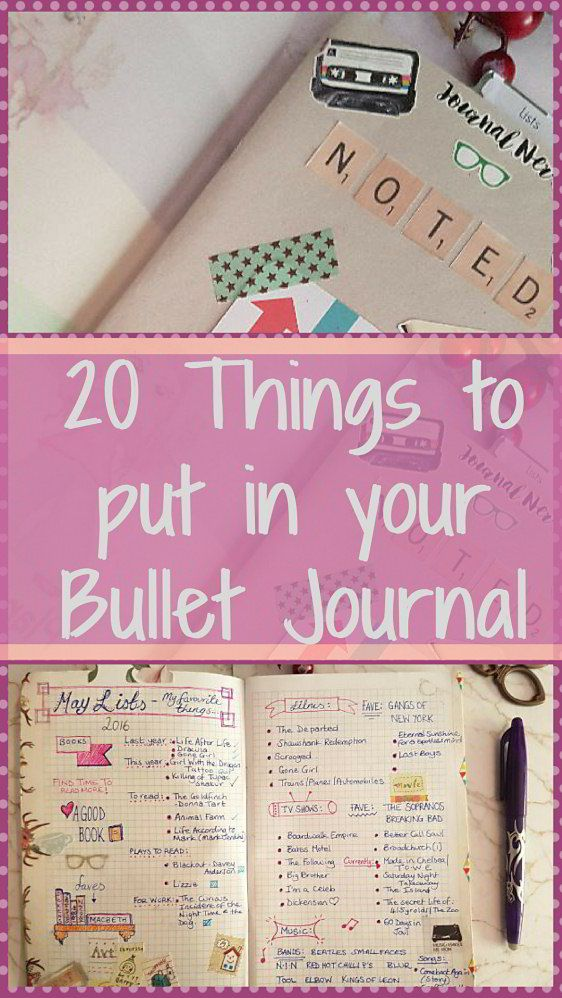 Ideas and inspiration for what to add into your bullet / bujo / lists journal. Kerrymay._.Makes