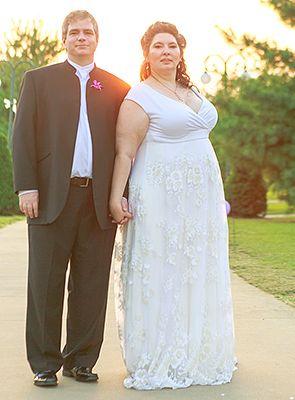 Karen wearing our Eugenia Vintage Wedding Gown!