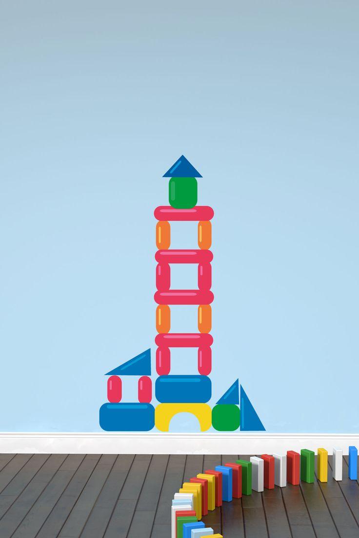 vinilos decorativos baratos presenta este vinilo donde vemos un castillo de colores con formas geomtricas