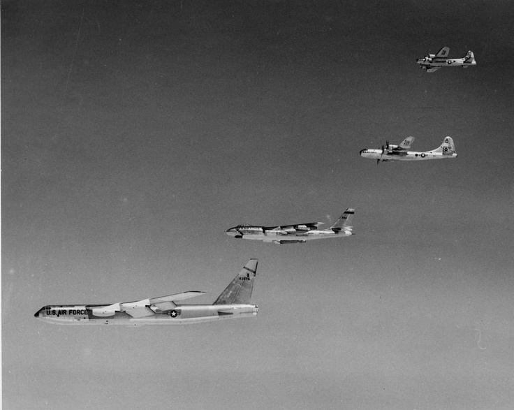1296 best AIRCRAFT images on Pinterest   Airplanes  Military     Amazing shot   the advancement of aviation in just a decade or so   Stratofortress  Stratojet  Superfortress  and Flying Fortress in formation