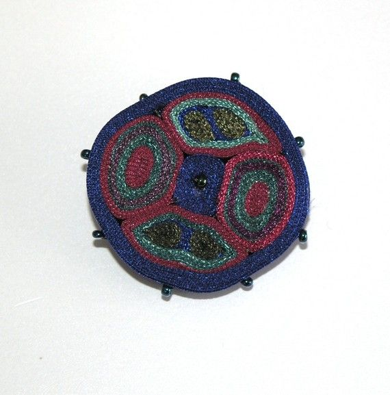 Textile Brooch Original Blue Red Green One by AudraTextileStudio, $35.00