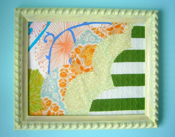 Framed Fabric Art  Designer Fabric Collage Mint by cherishlovesyou, $26.00