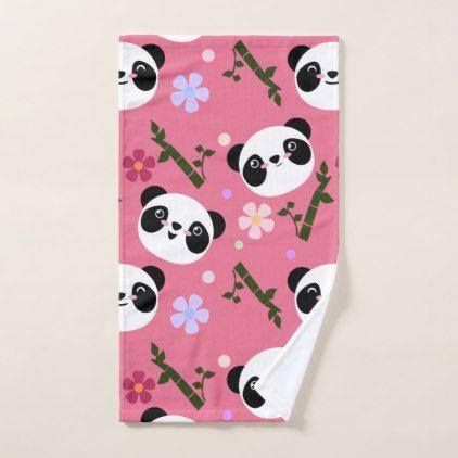 Kawaii Panda on Pink Hand Towel