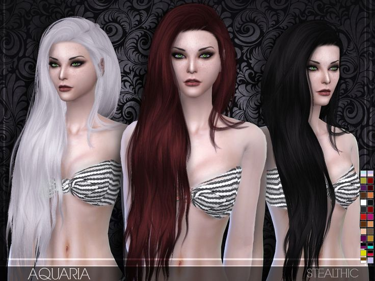 Stealthic Aquaria hairstyle Sims 4 CC Cheveux sims