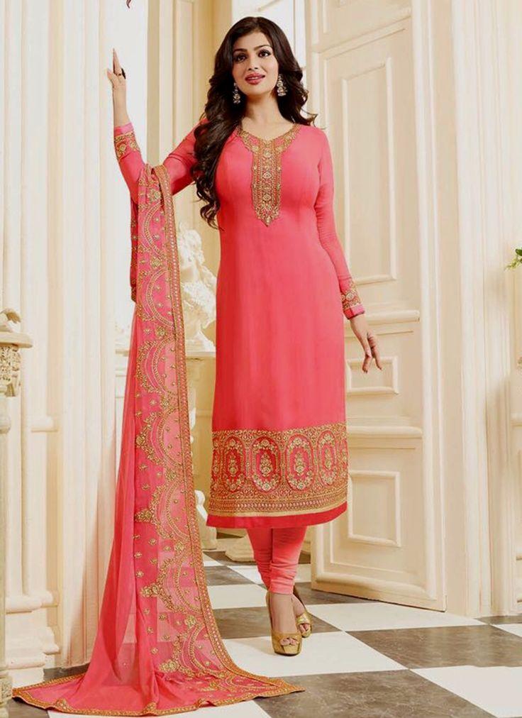 Online shopping best new style indian bollywood celebrity replica anarkali salwar kameez. Divine faux georgette churidar designer suit for festival and party.