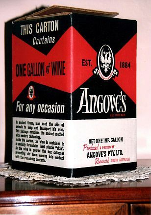 WINE CASK - Invented in 1965 by Thomas Angrove of the wine making company Angrove's Pty Ltd, the wine cask - a cardboard box housing a plastic container which collapses as the wine is drawn off, thus preventing contact with air, was launched in 1965.