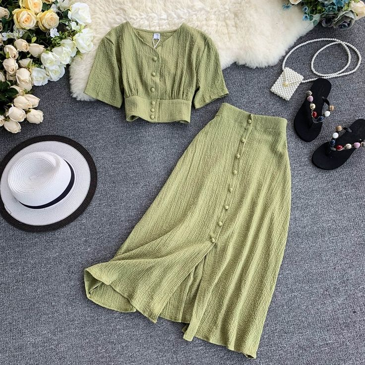 FREE SHIPPING Fashion Women Buttons Tops and Long Skirt 2pcs Set JKP1733