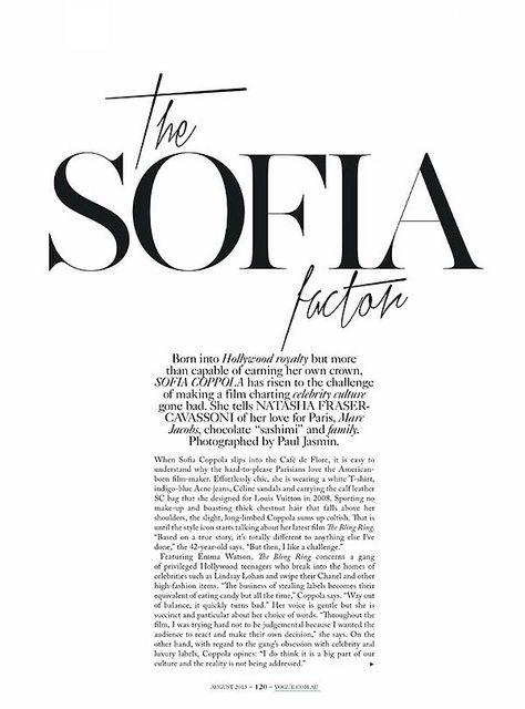 fashion inspiration | editorial : the sofia factor 제목은 눈에띄게 하고 위와 아래에 살짝 포인트를 주었다. 글은 작지만 읽을수 있을정도 이고, 글씨체는 평범하고 무난하다.