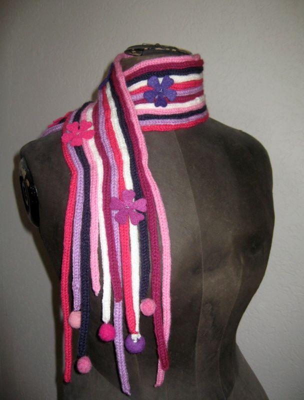 echarpe rose en tricotin 2