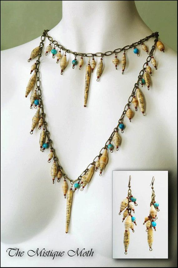 Paper bead jewelry set by TheMistiqueMoth on Etsy, $30.00