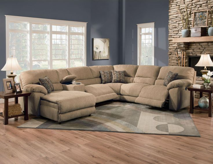 Image result for Lane Furniture Robert 4-Piece Reclining Sectional Sofa with Chaise, Beige