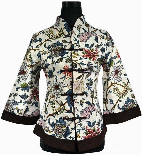 Free Shipping Beige Brown New Chinese Women's Linen Jacket Suit Coat Coat Flowers Plus Size S M L XL XXL XXXL 4XL 5XL 2218-1