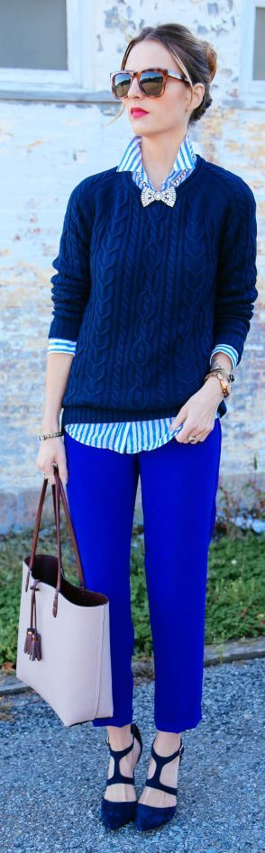 Klein Blue Comfy Ankle Trousers. I'd be that cool teacher. hahahaha. love it.