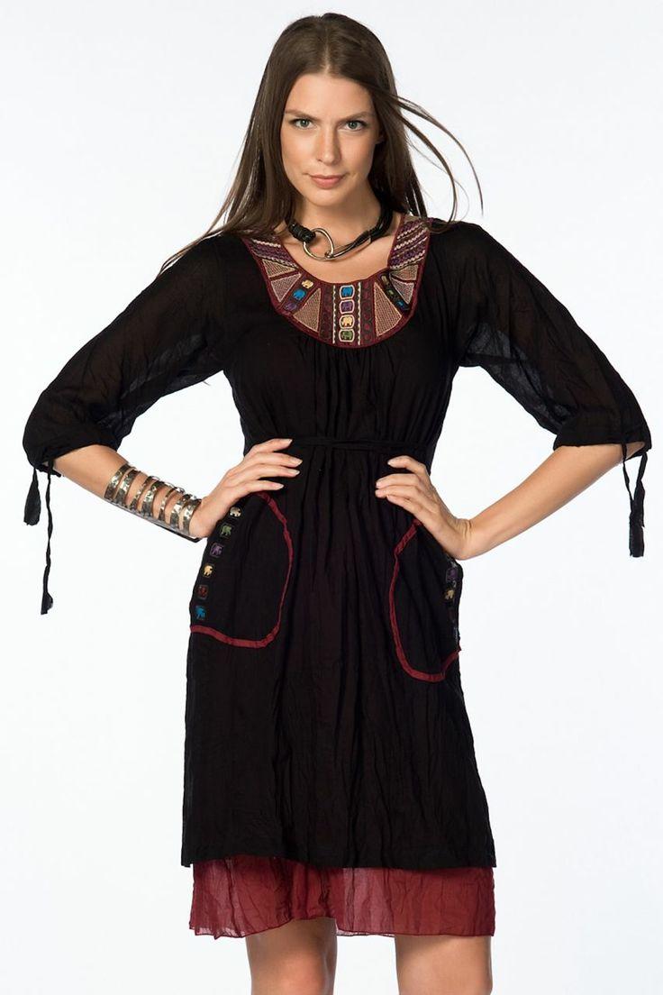 Otantik Gölyazı Elbise - Siyah