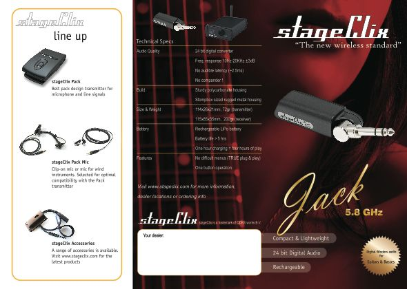 Accessories at Bass Direct:Stage Clix, Jack, Pack, digital WIRELESS System for