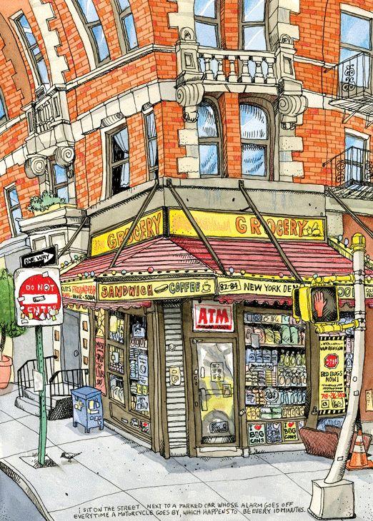 Illustration I did of a bodega in Williamsburg, Brooklyn.