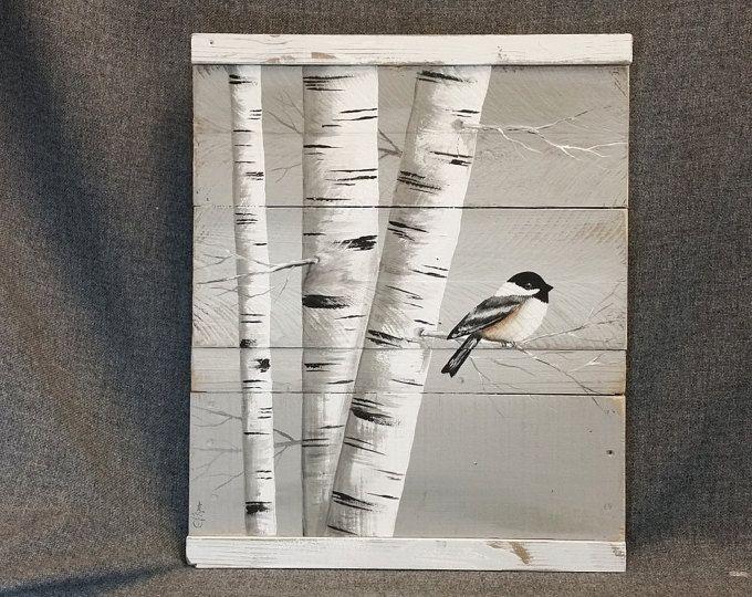 Bouleau blanc peinture, régénérée bois wall Art, peint à la main le bouleau blanc, Distressed, décoration murale, mésange, oiseau, rustique & Shabby Chic