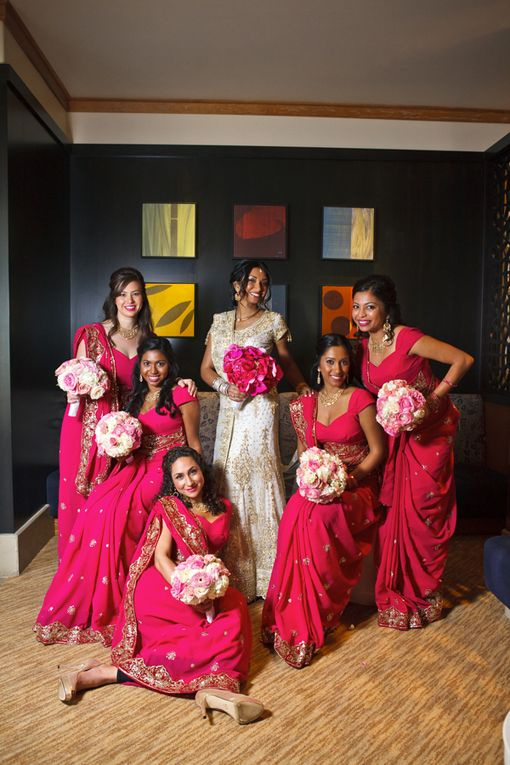 Modern Indian Portraits with Pink Bridesmaids Saris and Bouquets