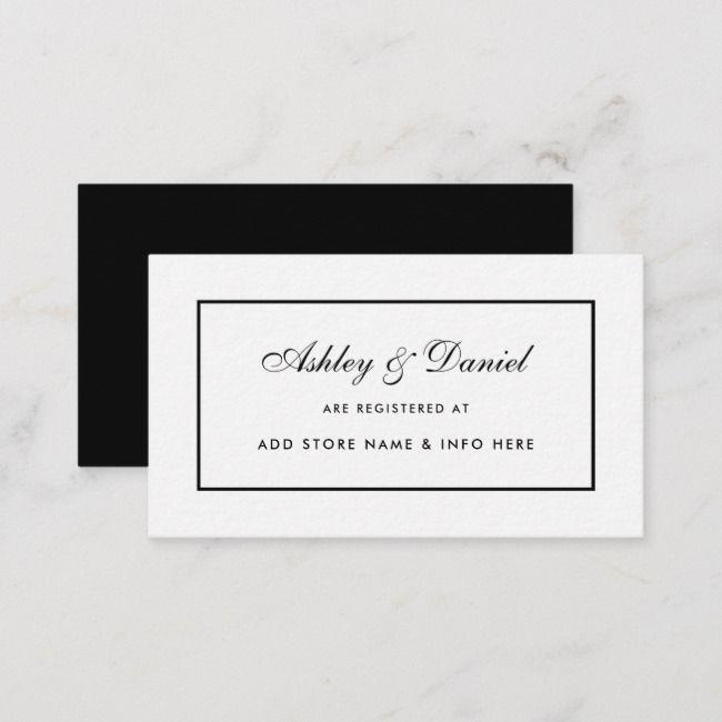 Moderne elegante Hochzeitsregister-Einsatz-Karte BW | Zazzle   – Creative Art Logo Ideas