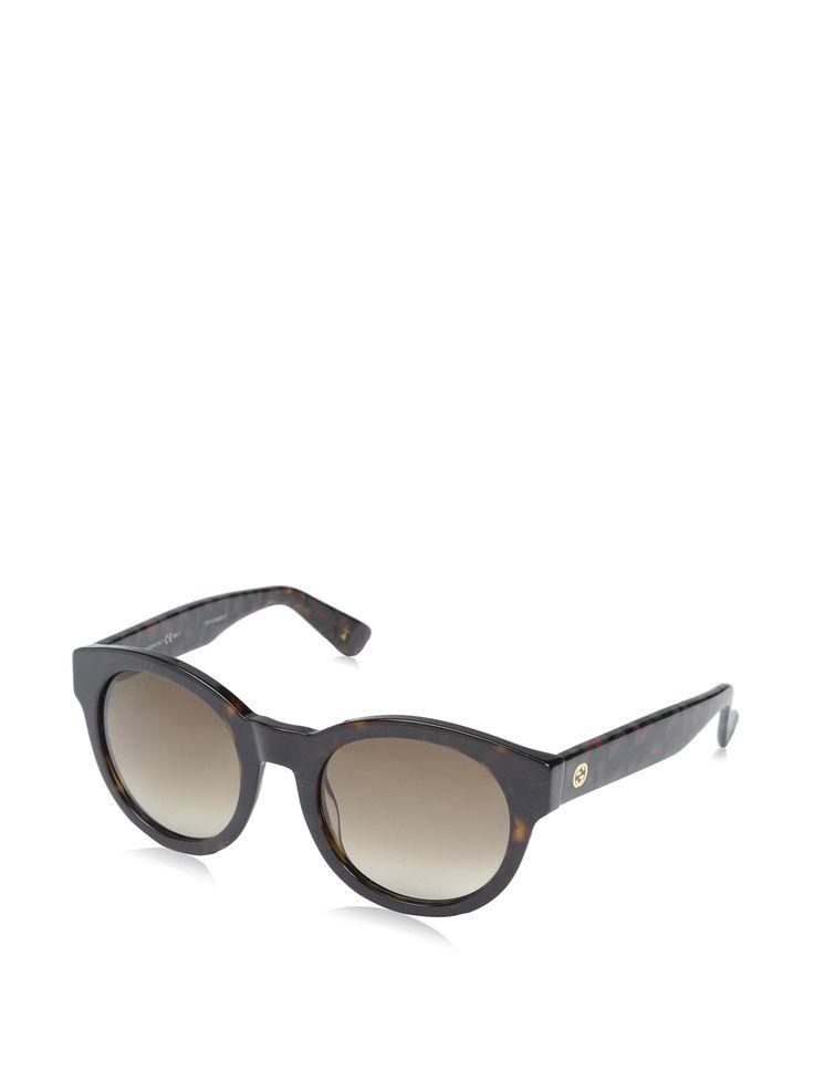 Gucci Designer Sunglasses, Havana/Green Red, 51-22-140. 100% Authentic.