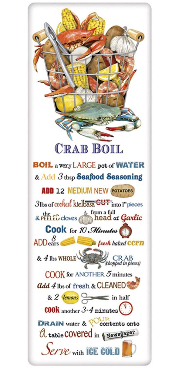 Crab Boil Recipe 100% Cotton Flour Sack Dish Towel Tea Towel
