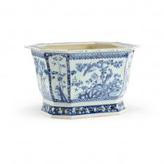 Blue and White Porcelain Asian Planter - LOW STOCK,ORDER NOW