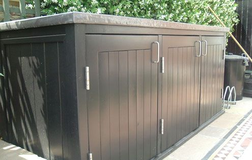Bike store for front of house?  Contemporary Garden Bin & Recycling Stores - Essex UK, The Garden Trellis Company