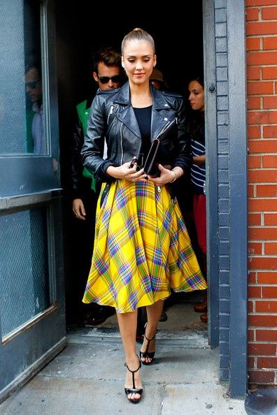 Jessica Alba street style- Neon plaid skirt with leather coat
