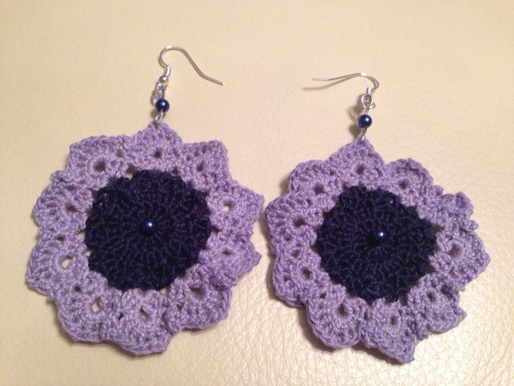 Orecchini fiori all'uncinetto #crochet #diy