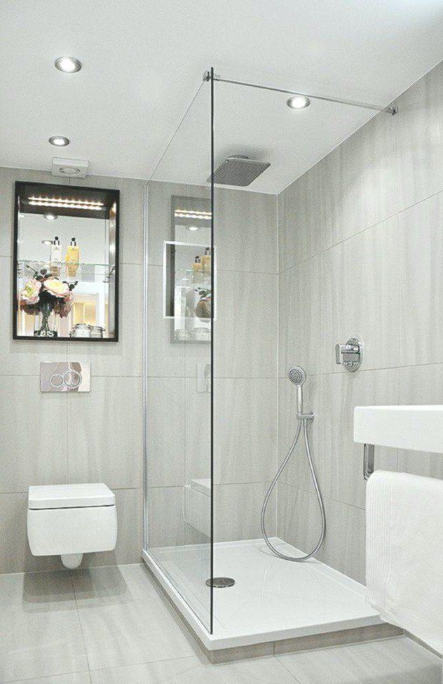 Kleines Bad Dusche Graue Fliesen Matt Duscheabtrennung Glaswand In