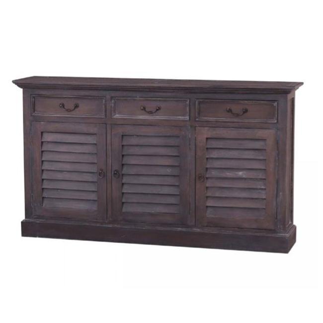 Narrow Shutter 3 Door Sideboard Small Tv Cabinet Narrow
