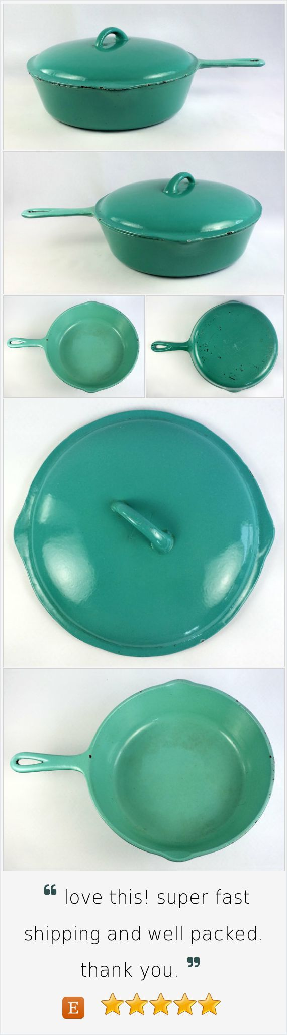 Enameled Heavy Cast Iron 10 in Covered Skillet Frying Pan Seafoam Vintage Americana Rustic County Chic