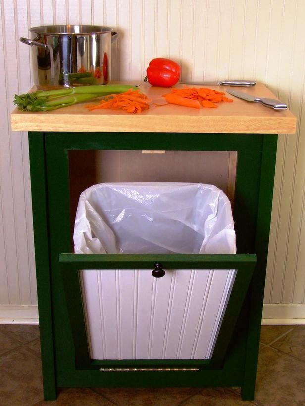 How to Build a Trash Bin With a Butcher-Block Countertop : How-To : DIY Network