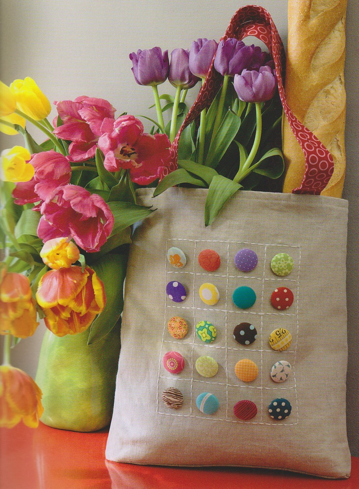 bag idea with buttons and embroidery