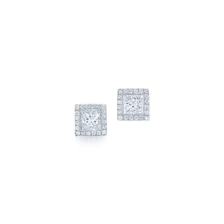 Stud Diamond Earrings Princess cut diamond stud earrings with micro pave border with 1.60 carat of diamonds. These beautiful diamond earrings are made in Platinum.