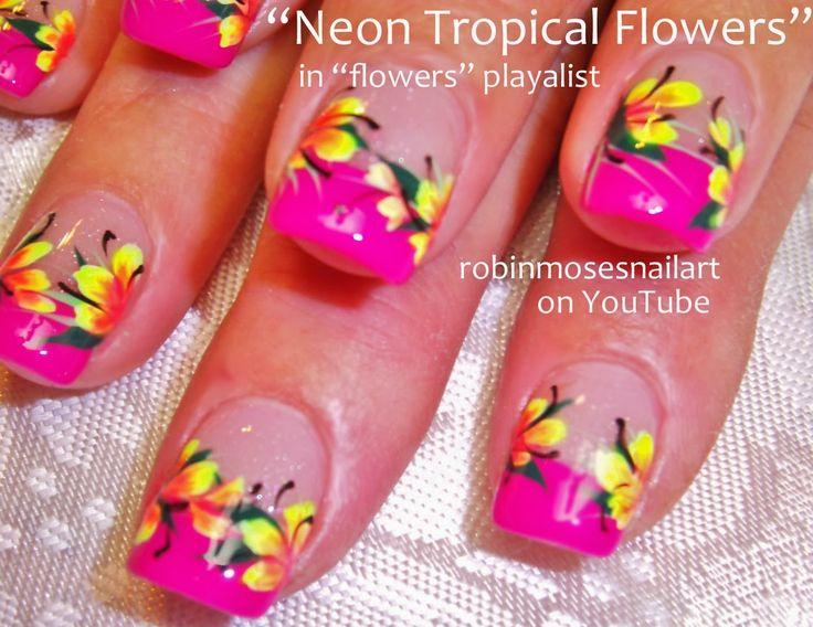 """Robin Moses Nail Art: """"tropical nail art"""" """"coral nail art"""" """"neon orange nails"""" """"summer vacation nails"""" """"tropical neon design"""" """"hibiscus flow..."""