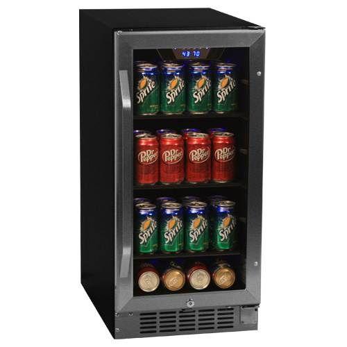 EdgeStar 80 Can Built-In Beverage Cooler - Black/Stainless Steel