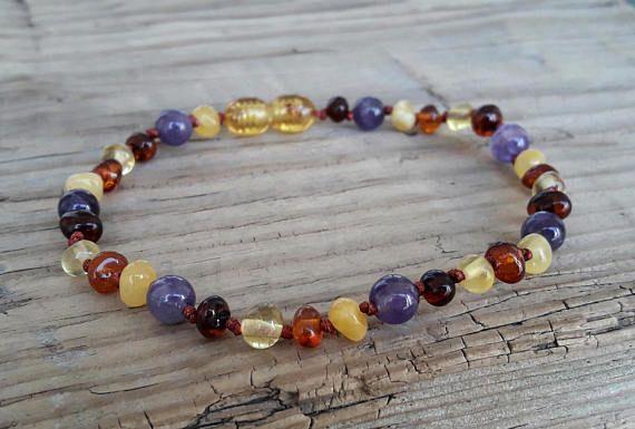 Unique amethyst bracelet baltic amber bracelet power bracelet