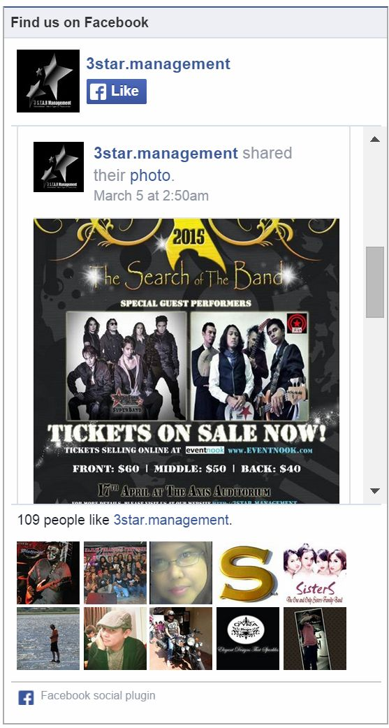 Facebook Like box in the event page on eventnook