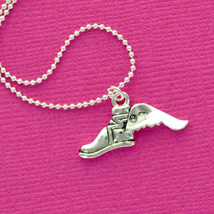 Winged CROSS COUNTRY Running SHOE Charm Necklace, delicate silver plated ball chain. $10.00, via Etsy.