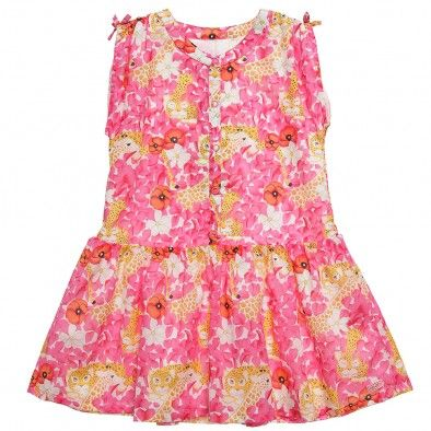 Pink Jungle Print Cotton Dress